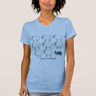 Border Collie Herding Sheep Ladies T-Shirt