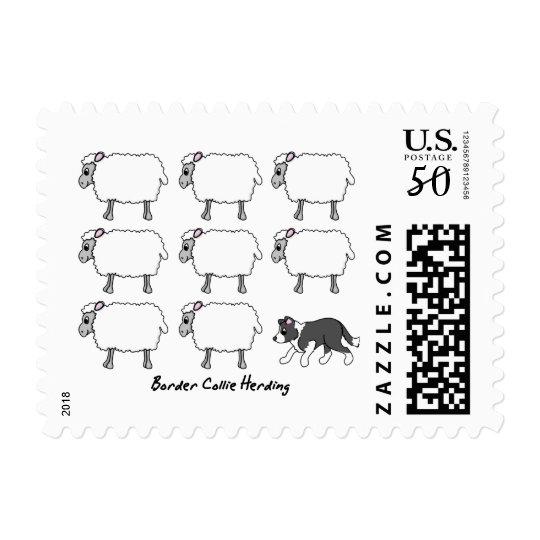 Border Collie Herding Sheep Postage Stamps
