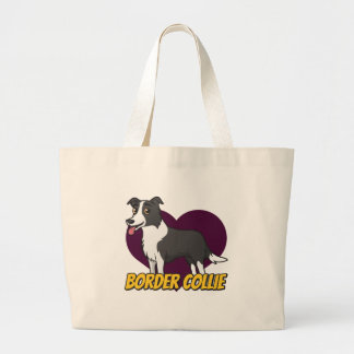 Border Collie in a purple heart Jumbo Tote Bag