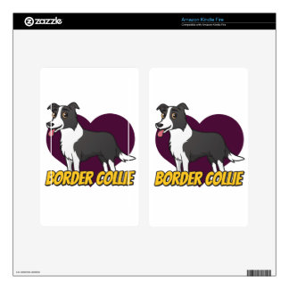 Border Collie in a purple heart Kindle Fire Skins