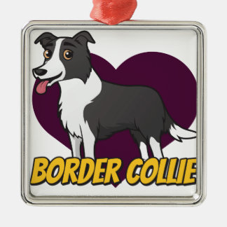 Border Collie in a purple heart Metal Ornament