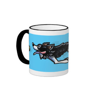Border Collie in Action Ringer Coffee Mug