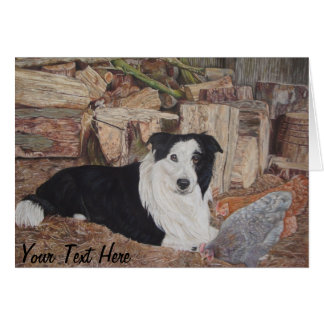 border collie in log shed with chickens portrait card
