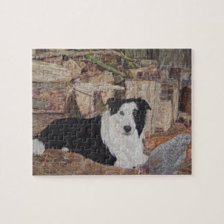 border collie in log shed with chickens portrait jigsaw puzzle