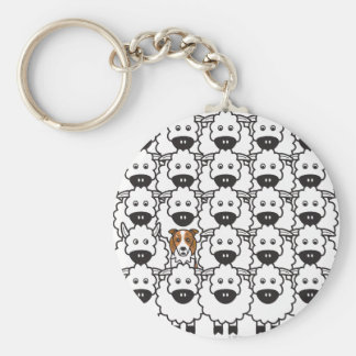 Border Collie in the Sheep Basic Round Button Keychain