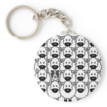 Border Collie in the Sheep Keychain