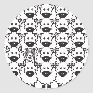 Border Collie in the Sheep Classic Round Sticker