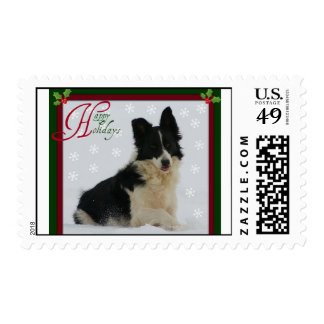 Border Collie in the Snow Happy Holidays Postage