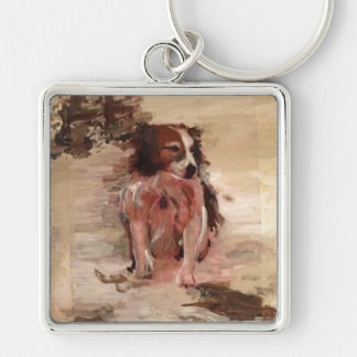 """Border Collie In The Snow"" Painting Key Chain"