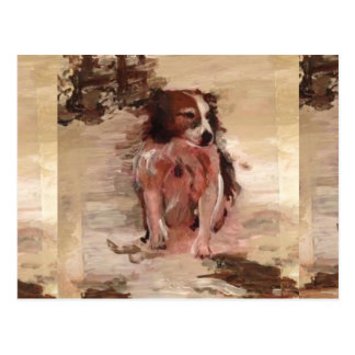 """""""Border Collie In The Snow"""" Painting on a postcard"""