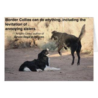 Border Collie Levitates Black Lab Stationery Note Card