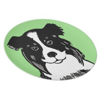 Border Collie Light Green Plate