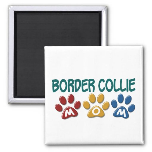 BORDER COLLIE MOM Paw Print 1 2 Inch Square Magnet
