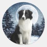 Border Collie & Moon Sticker