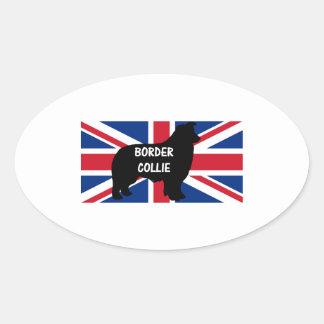 border collie name silhouette United_Kingdom flag Sticker