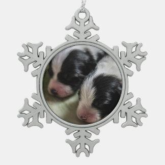 Border Collie Newborn Puppies Snowflake Pewter Christmas Ornament