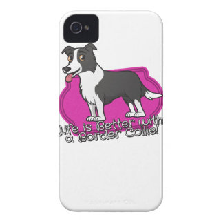 Border Collie on pink! iPhone 4 Case