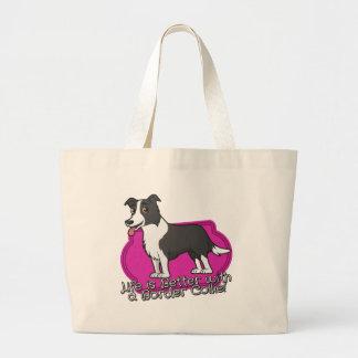 Border Collie on pink! Jumbo Tote Bag