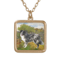 Border Collie on the Farm Gold Plated Necklace