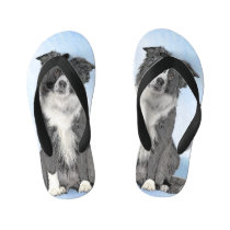 Border Collie Painting - Cute Original Dog Art Kid's Flip Flops