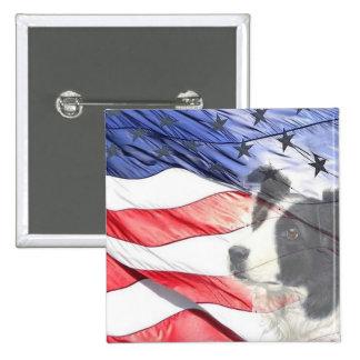 Border Collie Patriotic Pin