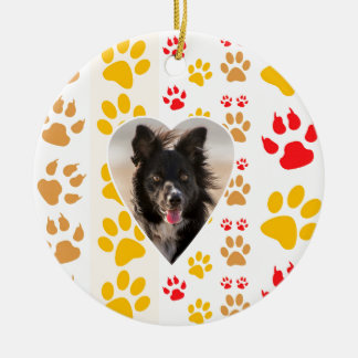 Border Collie Paw Print Love Heart Ceramic Ornament