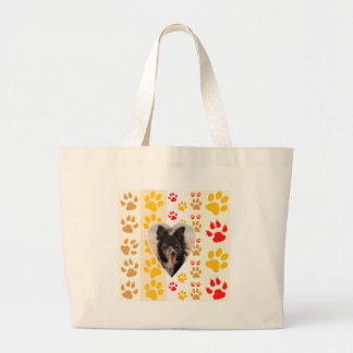Border Collie Paw Print Love Heart Large Tote Bag