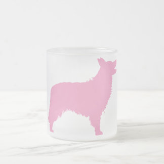Border Collie (pink) Frosted Glass Coffee Mug