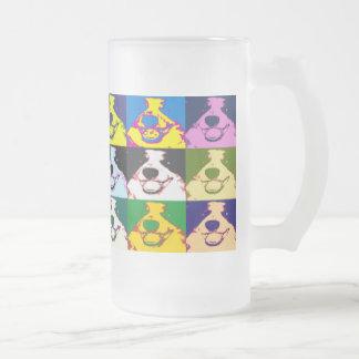 Border Collie Pop Art Frosted Glass Beer Mug