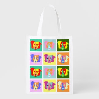 Border Collie Pop Art Grocery Bag