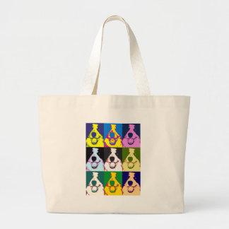 Border Collie Pop Art Large Tote Bag