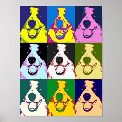 border collie pop art poster