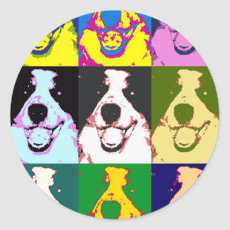 Border Collie Pop Art Round Stickers