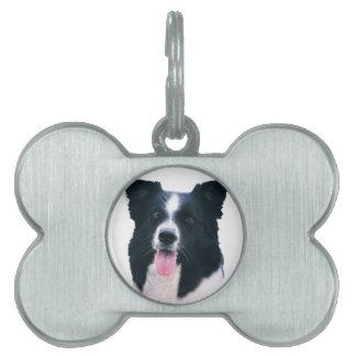 Border Collie Portrait Pet Name Tag