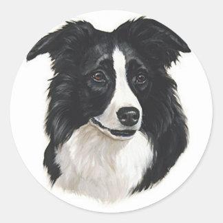 Border Collie Portrait Classic Round Sticker