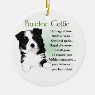 Border Collie Puppy Ceramic Ornament