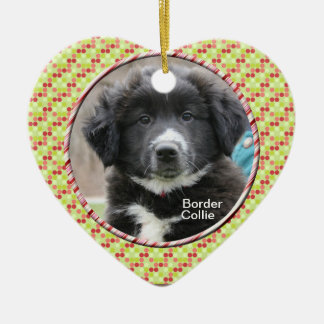 BORDER COLLIE PUPPY CHRISTMAS HEART ORNAMENT