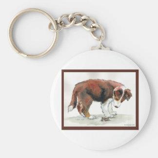 Border Collie Puppy & Grasshopper Keychain