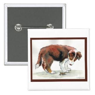 Border Collie Puppy & Grasshopper Pinback Button