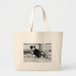 Border Collie Puppy Large Tote Bag