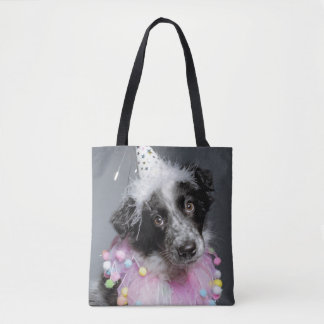Border Collie Puppy Wearing Hat Tote Bag