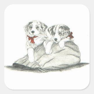 Border Collie Pups Square Sticker