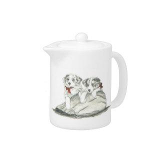 Border Collie Pups Teapot