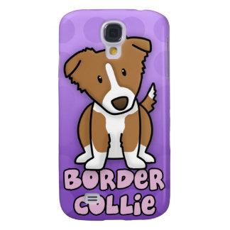 Border collie púrpura de Brown del dibujo animado Funda Para Samsung Galaxy S4