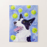 """Border Collie Puzzle - &quot;Magpie&#39;s Gold&quot;<br><div class=""""desc"""">This puzzle features Magpie the border collie surrounded by her favorite things. To Magpie,  tennis balls ARE gold! From a painting in watercolor on Yupo.</div>"""
