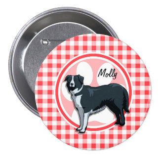 Border Collie; Red and White Gingham Pin