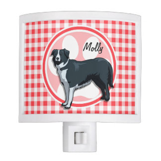 Border Collie; Red and White Gingham Night Lights