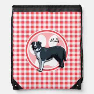 Border Collie; Red and White Gingham Drawstring Bag