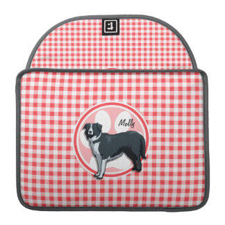 Border Collie; Red and White Gingham Sleeves For MacBook Pro