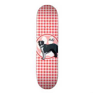 Border Collie; Red and White Gingham Skateboard